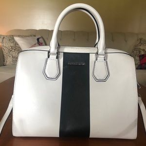 Michael Kors Stripe Mercer Medium Duffle Satchel
